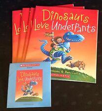Dinosaurs Love Underpants by C Freedman New Scholastic Listening 4 Book Set w/CD