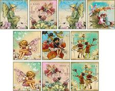 "10 vintage images of fairy angel 2"" cards with envelopes organza bag set 1"