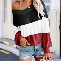 Women V Neck Color Block Oversized Sweater Long Sleeve Knit Pullover Jumper Tops