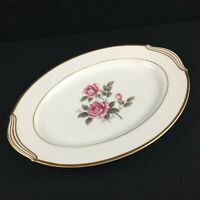 VTG Serving Platter 11.75in Noritake Lindrose Pink Rose Floral 5234 Gold Japan