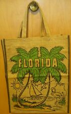 Vintage Florida Flamingo Souvenir Bag Tote Burlap Jute Island Palm Tree Lined