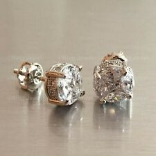 Solid 14K White Gold Certified 2.00 Ct Round Cut Diamond Solitaire Stud Earrings