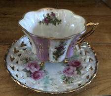 Iridescent Lusterware Pink Rose Floral Footed Tea Cup &  reticulated Saucer