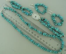 TURQUOISE WATCH, EARRINGS, NECKLACE SET nugget beads band solid silver 925 claw