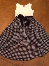 Girl's Pinky Sleeveless White And Black Flower Print Dress Size 8