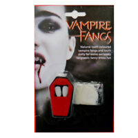 DRACULA VAMPIRE FANGS CAPS TEETH HALLOWEEN FANCY DRESS WITH ADHESIVE PUTTY