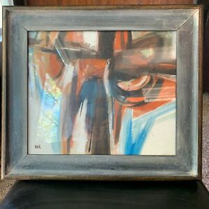 Vintage Mid-Century Abstract Acrylic Painting Signed Mack Original Artwork