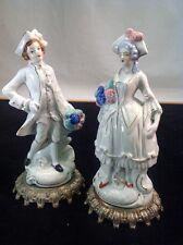 Vintage 1950's Aristocratic Porcelain Figurines On White Metal Bases Japan