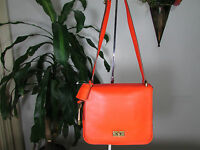 NWT Fossil Leather Memoir Small Flap Crossbody Bag with Key Fob Bright Orange