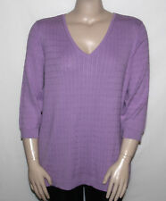 NEW Motto Plus Size 2X Essentials 3/4 Sleeve Ribbed V-neck Sweater ORCHID