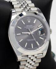 Rolex Datejust 41mm 126300 Jubilee Rhodium Dial Smooth Bezel Watch *UNWORN*