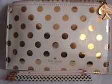 Kate Spade Gold Polka Dot Pouch Clutch Makeup Bag GOLD SPADE CHARM Case *CUTE*