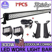 "52"" 300W LED Light Bar+Mounting Brackets for Jeep TJ Wrangler+2X 18W+Wiring HT"