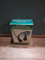 Vintage Suntone Rr406 Black AM/FM Headphone Personal Radio New in open box