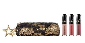 MAC-Lucky Star Retro Matte Lip Kit~NEUTRAL~3x Liquid Lip +Sequin Bag LE GLOBAL!
