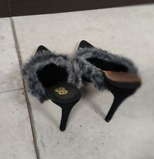 8 by Yoox, fluffy mules with high heels and 1 cm lift - size 38EU/8US