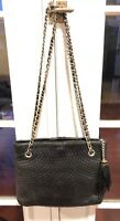 BALLY Black Leather Quilted Shoulder Bag w/ Woven Chain Straps And Tassel