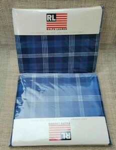 RALPH LAUREN HOME Sweetwater AMERICANA BLUE Plaid TWIN Flat & Fitted SHEET vinta