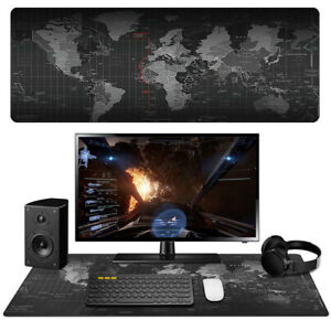 Extended Gaming Mouse Pad Large XXL World Map Desk Mat Computer Keyboard Black