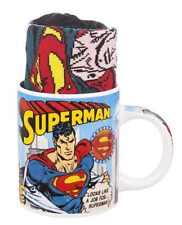 OFFICIAL  DC COMICS VINTAGE SUPERMAN TEA COFFEE MUG AND SOCKS NEW GIFT BOX SET