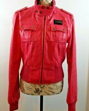 VINTAGE eckored denim Leatherette Jacket Waist Length Pink Women's Size Large