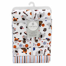 "4 Receiving Blankets Carter's 100% Cotton 40""x30"" Boys Animals & Sports Orng NIP"