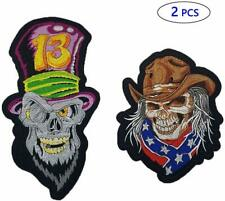 Skull Patches Cowboy Evil Skull Iron On Patches 2 Pcs Large Center Back Dead Emb