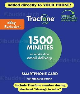 TracPhone Tracfone 1500 Minutes only Airtime PIN # Email Smartphone Track phone