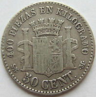SPANIEN 50 CENTIMOS 1870 in SCHÖN / SEHR SCHÖN !!!