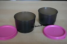 TUPPERWARE 1 set 2  Snack Cup bowl 4oz Black/Pink Seal  New
