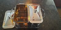 Vintage Anchor Hocking Amber Buffet Serving Set Two 1-1/2  Qt  Excellent Cond