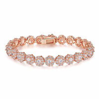 Rose Gold Plated Brilliant Round Cut 7mm AAA Cubic Zirconia CZ Tennis Bracelet
