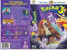 Vhs *Pokemon 3* 1997-2001 Warner Home Video - Nintendo Creatures Double Feature!