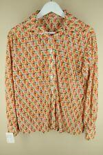 Vintage Women's Orange Yellow & White Geometric 70's Sheer Blouse Shirt L Large