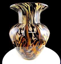 """POLISH ART GLASS HAND BLOWN MOTTLED SWIRL AMETHYST & WHITE 9 1/4"""" WIDE RIM VASE"""