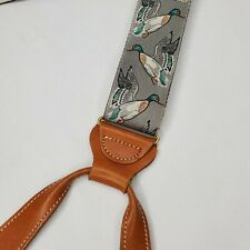 Trafalgar Braces Mallards Suspenders Duck Silk Leather Hunter Guide Ducks Button