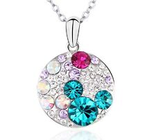 Round Pendant Necklace Set - Made with Swarovski Crystal- Blue Zircon Color