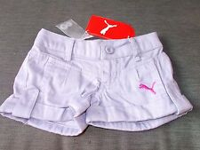Puma 100%Cotton 'PumaShift' Adj.Waist Denim Shorts 12-24m 92cm Lilac BNWT