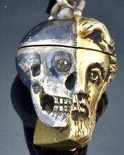 Victorian Memento Mori half Skull half man silver head pill box/pocket watch fob