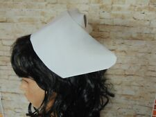 US hospital nurse cap hat vintage style plain white linen look starched type cap