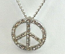 Silver Crystal Small Peace Pendant Chain  Necklace  9.5 Inches Long