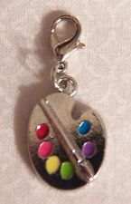 Paint Palette Dangle Charm w/ Lobster Clasp - Silver-tone - NEW