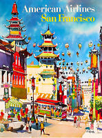 San Francisco California Air Vintage United States Travel Advertisement Poster