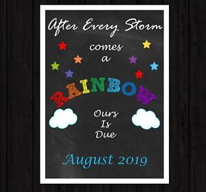 Pregnancy Announcement Rainbow Baby Big Bro Sis Reveal New Baby A4 Photo Prop