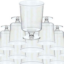 SET OF 50 WINE PLASTIC DISPOSABLE GLASS COLD DRINKS BBQ PARTY GLASSES TUMBLERS