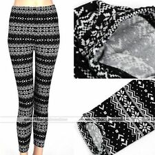Black Snowflake Womens Christmas Winter Knitted Leggings Cotton Stockings Pants