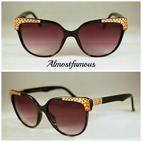 Cat eye style remade vintage sunglasses,metal detail,60s Alternative Fashion
