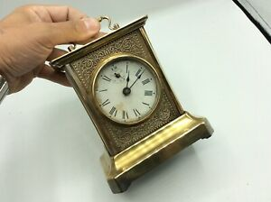 Fantastic Antique Vintage Alarm Musical Brass Cased Mechanical Carriage Clock