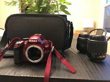 Nikon D3200 24.2 MP Digital SLR Camera - Red (w/ 18-55mm, 55-200mm Lens and bag)