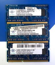 6GB Laptop RAM Lot of 3x 2GB Nanya PC3-10600S DDR3 SODIMM Memory Modules